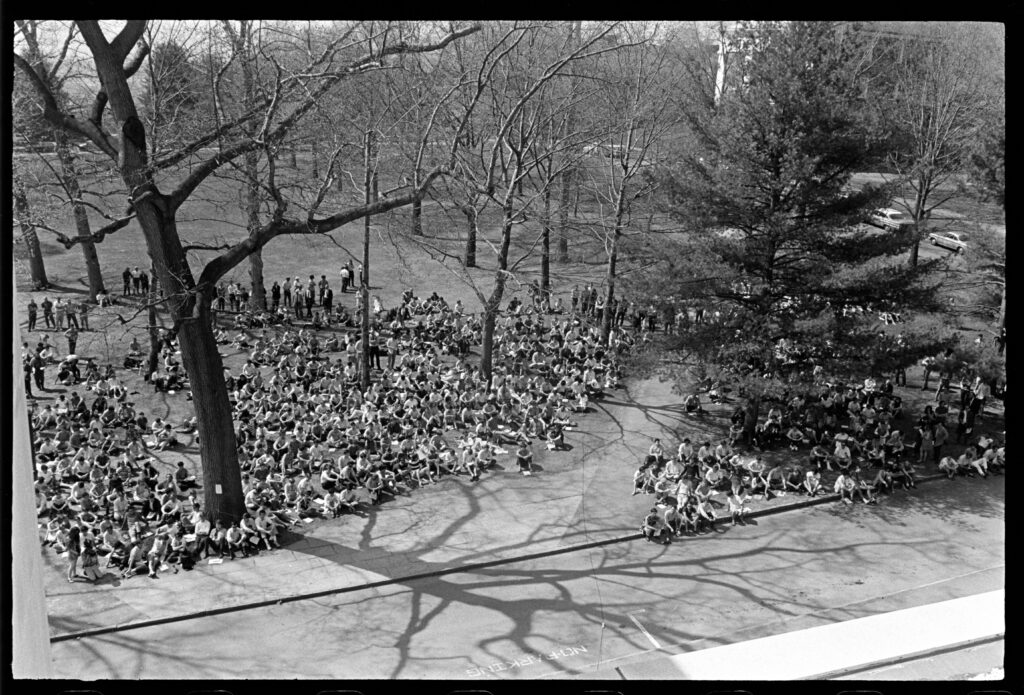 Hundreds of students gather on the quad outside of Converse in 1969 as part of the college's moratorium that halted classes to address the role of racism on campus